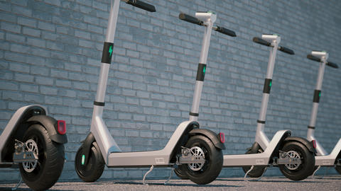 Camera animation along of modern Electric scooters parked in a row CG動画