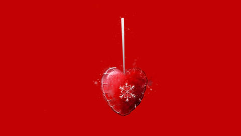 Watercolor Christmas tree decoration - red heart, on the alpha channel Animation