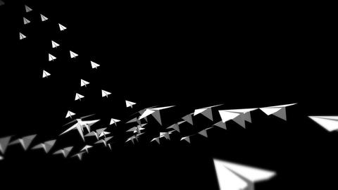 Origami airplane flying. Animation of flowing white paper plane on black background. Innovation Animation