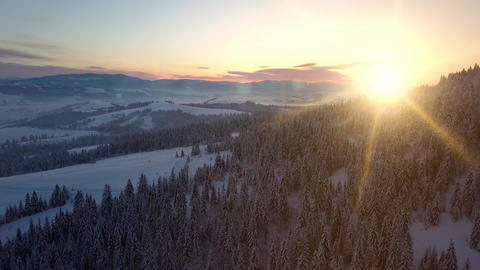 Aerial view of Carpathian mountains in winter at sunrise. Flight over mountains Live Action