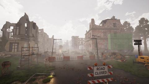 Ruins of a city. Apocalyptic landscape CG動画