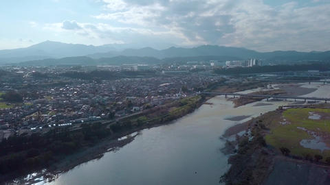 Japan,Kanagawa,Sagamihara,Sagamiriver,Sagamigawa,Tanzawa,Mountain,Drone,Sky,Shimomizo Footage