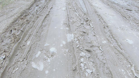 Broken dirt road on nature Footage