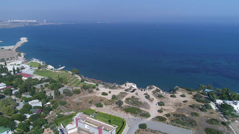 Aerial View of Sea Shore in Summer Seaside City Archivo