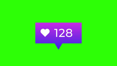 Purple Gradient Likes Notification Counter on Green Screen Animation