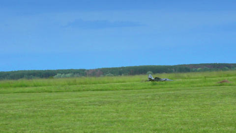 Air crash of military fighter plane model. Accident at aviation show Live Action