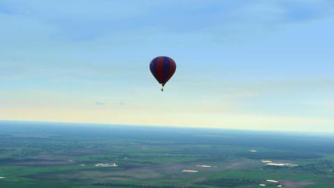 Blue horizon aerial view shot. Air balloon, landscape, pilot pov Footage