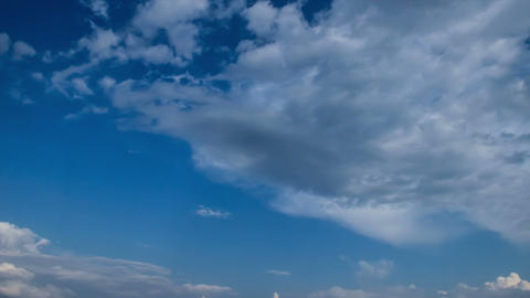 Classic time-lapse of clouds passing by. Blue sunny sky Footage