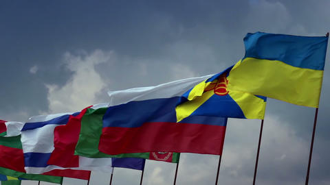 Many countries flags on flagpoles. Ukrainian, Russian, Turkmen. Union, politics Footage