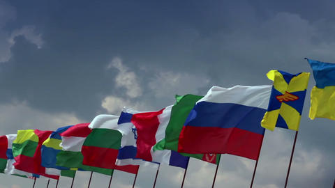 Various flags of different states. For summit, meeting, negotiations Footage