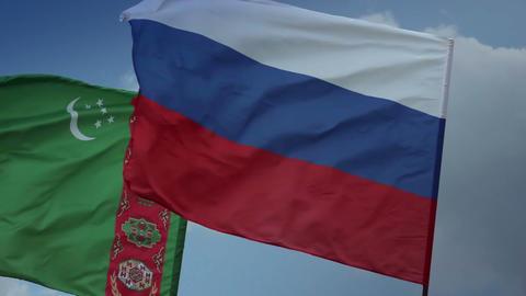 Flags Russia, Turkmenistan Ukraine. Gas, Customs Union, Soviet Footage