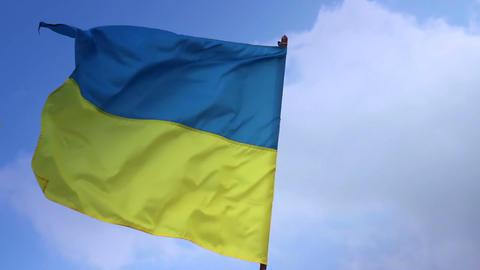 Flag of Ukraine on flagstaff. Ukrainian national flag Footage