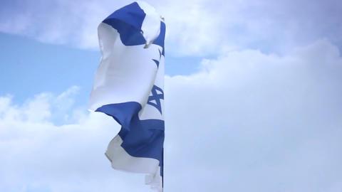 Israeli national flag waving on flagpole. Israel, Palestine Footage