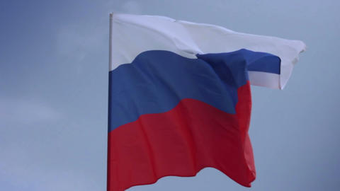 Flag of Russia on flagstaff. Russian Federation national flag Footage