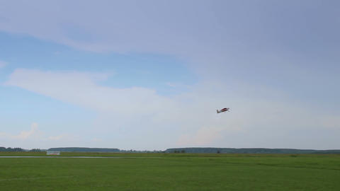 Radio controlled airplane model takeoff during air show Footage