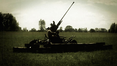 Soldiers prepare howitzer shooting, world war 2 reconstruction. Soviet enginery Footage
