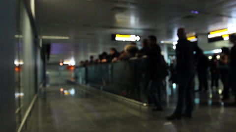 Arriving and waiting people in airport terminal meeting point Footage