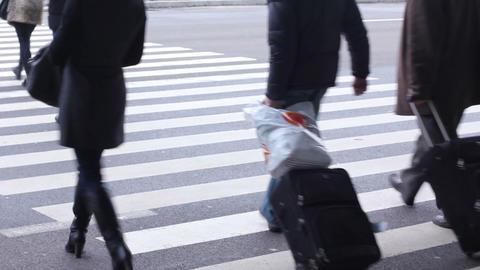 Wide pedestrian passage near airport or bus/railway station. People on crosswalk Footage