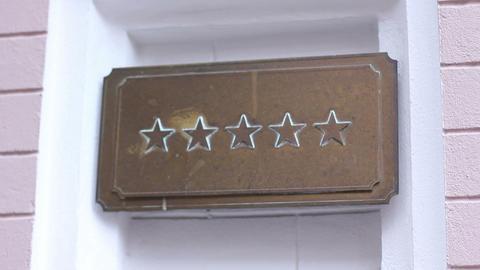 Five star sign on rich elite establishment like hotel, restaurant or shop Footage