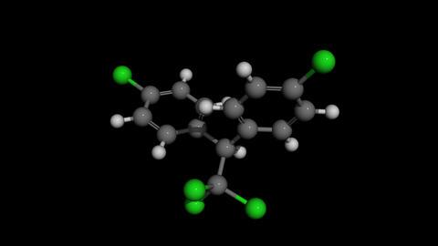 DDT molecule model rotating Animation
