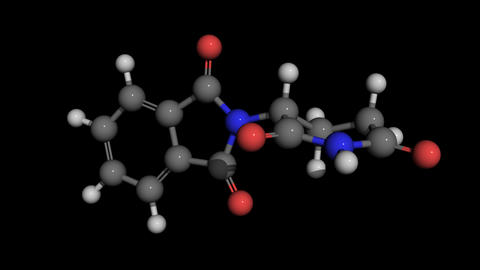 contergan (thalidomide) molecule model rotating Animation