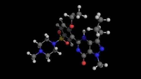 Viagra (sildenafil) molecule model rotating Animation