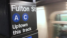 Subway Train Arrives at Fulton Street Station Footage