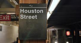 Manhattan Subway Train Approaches Houston Street Platform Footage