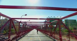 POV Perspective Williamsburg Bridge Pedestrian Sidewalk Footage