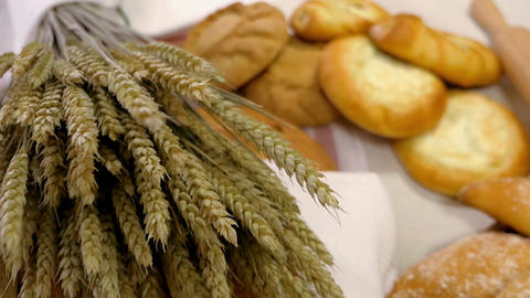 Breads and Baked Goods Large Assortment Fresh Baked and Crispy Close Up Live Action
