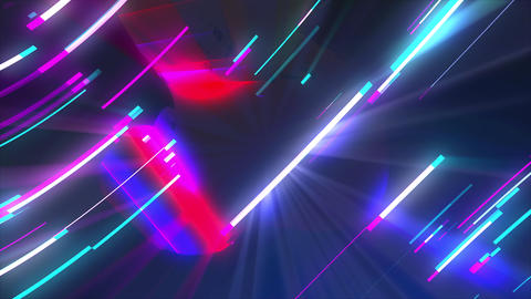 Neon composition with bright shapes like neon tunnel is in the dark space, 3d Live Action