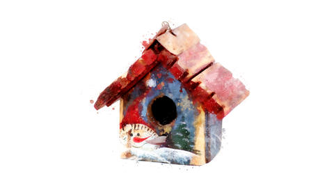 Watercolor Christmas tree decoration - toy house, on the alpha channel Animation