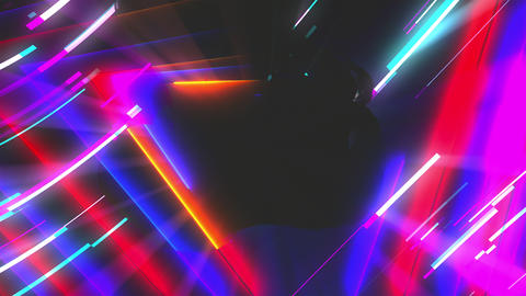 Neon composition with bright shapes like neon tunnel is in the dark space, 3d Footage