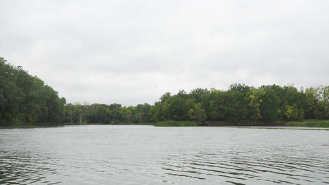 Forest on the other side of lake or river in cloudy weather Live Action
