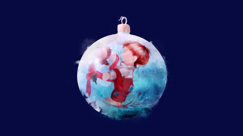 Watercolor Christmas tree decoration - painted ball, on the alpha channel CG動画
