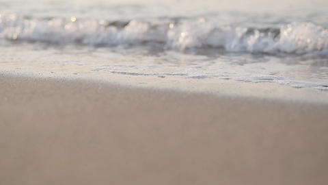 Foamy Mediterranean waves rolling to the sandy beach. Beautiful Turkish nature Footage