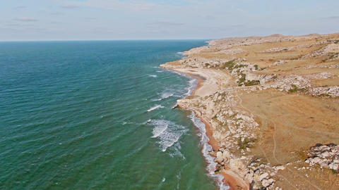 AERIAL SHOT General beaches CRIMEA KERCH SEPTEMBER 2019 SEA of AZOV Flying over Live Action