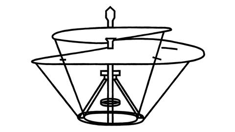 An animated drawing of a helicopter in the style of Leonardo da Vinci Videos animados