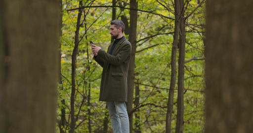 Smiling Caucasian man with gray hair standing between trees in the autumn forest Footage