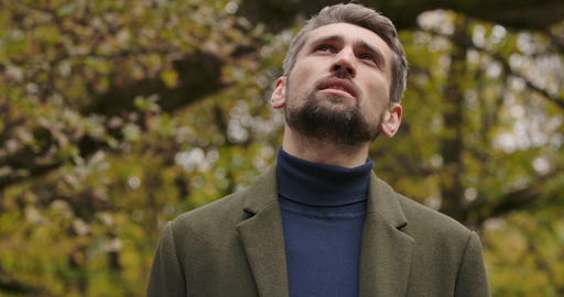 Portrait of handsome bearded Caucasian man standing in the forest and looking up Footage