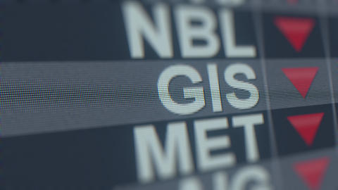 GENERAL MILLS GIS stock ticker with decreasing arrow, conceptual Editorial GIF