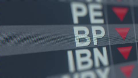 Stock exchange ticker of BP ADR BP with decreasing arrow. Editorial crisis GIF