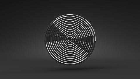 Loop Able Silver Circle Abstract On Black Background Stock Video Footage