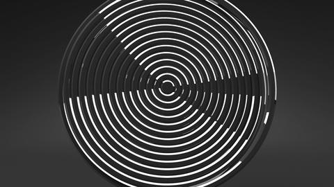 Loop Able Silver Circle Abstract On Black Background Animation