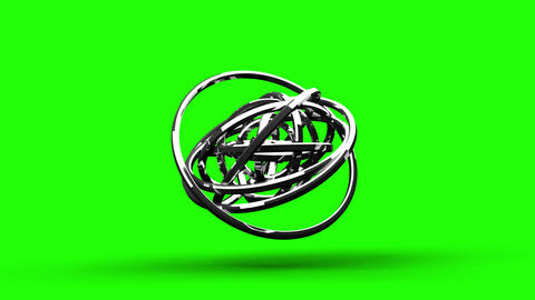 Loop Able Silver Circle Abstract On Green Chroma Key CG動画