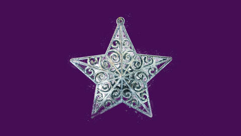 Watercolor Christmas tree decoration - silver star, on the alpha channel Animation