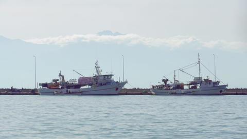 Moored fishing boats on port at Thermaic gulf GIF