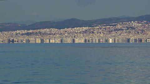 Thessaloniki, Greece landscape coastal view of the city centre Footage