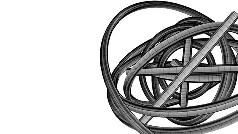 Loopable Black Wire Frame Circle Abstract On White Text Space Animation