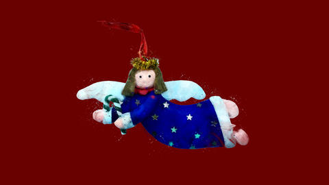 Watercolor Christmas tree decoration - Christmas angel, on the alpha channel CG動画